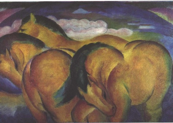 Franz Marc   Die kleinen gelben Pferde yellow horses gele paarden 580x414 Ontaarde paarden/Franz Marc etc