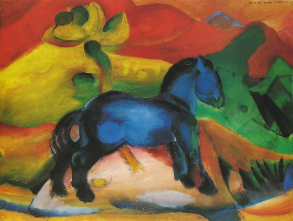 Franz Marc   Il cavallino blu 1912 kleines blaues Pferd klein blauw paard 580x438 Ontaarde paarden/Franz Marc etc