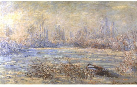 Claude Monet winter raureif vorst white frostMonet   Raureif  1880 580x371 Claude Monet: winter, sneeuw, ijs