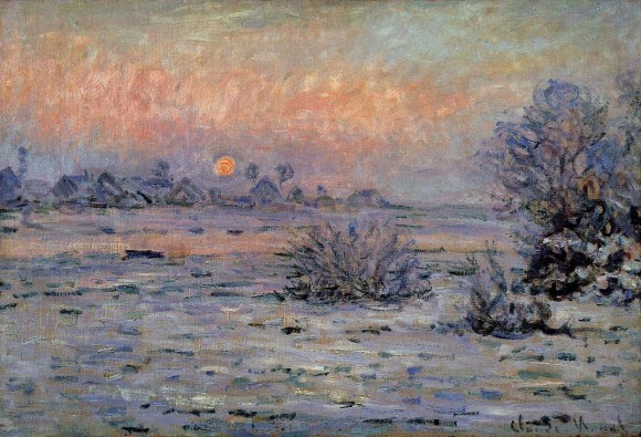 Claude Monet winter Hiver Lavacourt Le Havre 580x395 Claude Monet: winter, sneeuw, ijs