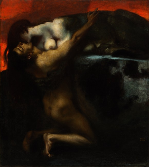 Franz von Stuck   The Kiss of the Sphinx   Kuss der Sphinx 580x649 Androgynie en femme fatale bij Franz von Stuck