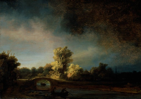 Rembrandt Harmensz. van Rijn Wolken in der kunst clouds in art stone bridge 1638 580x407 Wolken in de kunst